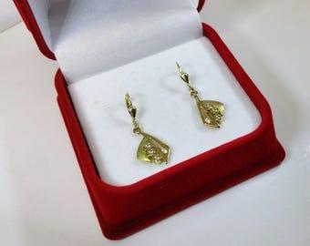 Earring Earrings Gold 333 matt/shiny Crystal stones vintage OR108
