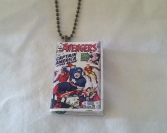 Comic Book Pendant  -  Avengers Comic Book Pendant - Comic Book Necklace - Comic Book Jewelry - Avengers Comic Book Necklace - Super Hero
