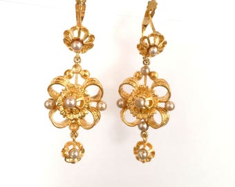 Filigree style beads and earrings gold plated silver mounting
