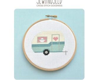 Retro Camper, Vintage Travel Trailer Cross Stitch Pattern Instant Download, Adventure, Road Trip, Camping