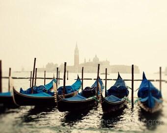 venice italy photography, blue decor, travel photography, nautical decor, europe art, water, boat photograph, Gondolas in Color V23