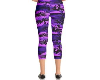Purple Hawaiian Print Flowers Camo Style Capri Leggings