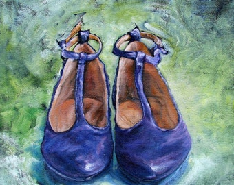 """Original Oil painting on fine jute """"MARYJANE"""" 24"""" by 24"""" Vintage shoes part of the SHOE Series! FREE shipping!"""