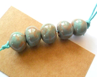 12mm Glossy Blue Green Terra Cotta Clay Kiln Fired Beads, set of 5