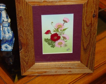 FREE SHIPPING Dried flower custom framed solid cedar arrangement oak finish country rustic display maroon mat