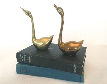 Set of Two Brass Swans, Geese, Cranes, Ducks, Birds
