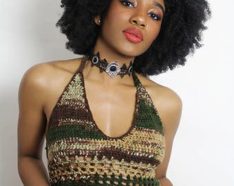 Mix green halter top. color option available