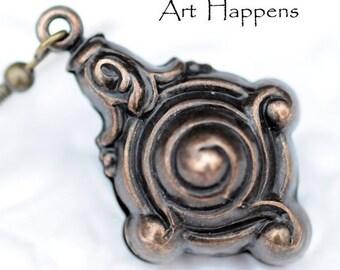 Vintage Inspired Brass Dangle Earrings, (FL2-R2-C1), 1950s Revisited