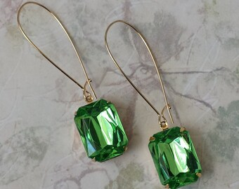 Peridot Acrylic Earrings - Rhinestone Earrings - Retro Earrings - Boho Chic Earrings - Casual Earrings - Green Rhinestone Earrings