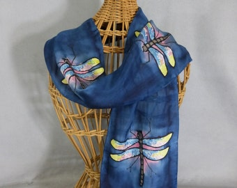 """Silk Scarf (Small) """"Navy Blue Dragonfly"""", Hand Painted Silk Scarf, Navy Scarf"""