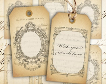 Digital collage sheet printable gift tags instant download vintage digital collage sheet blank vintage gift tags instant printable download best for paper craft scrapbook blank gift tags negle Image collections