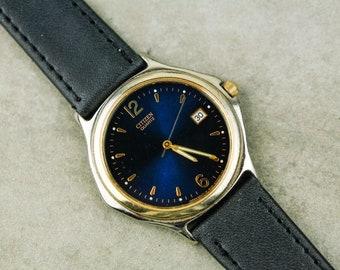 Vintage Citizen Quartz Watch with Blue Sunburst Dial and new black leather strap