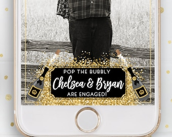 Engagement Party, Snapchat, Geofilter, Filter, Pop The Bubbly, Champagne, Bottle, Bubbly, Gold, Black, Glitter, Sparkly, City