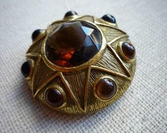 "Vintage"" Benedikt N.Y."" Renaissance Style Topaz Cabochon Gold Tone Brooch Pin"