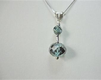 5.50ct, blue diamond necklace 14K white gold, blue diamond pendant, diamond jewelry, diamond pendant necklace, unique for women