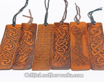 Set of 6 Celtic Leather Bookmarks