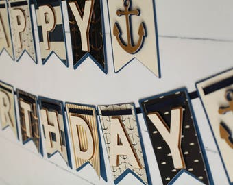 Nautical Birthday Banner,Nautical first Birthday,Nautical Party Decorations,Nautical Party,Happy Birthday Nautical Banner,Anchor Banner,Gold