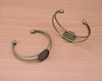5pcs bangles,bronze bangle,Antique Bronze Bracelet with 20mm glue pad,Vintage Style for DIY decoration bangle pendant jewelry making