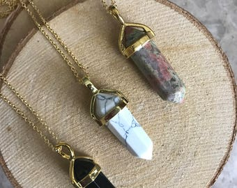 Natural Gemstone Point Pendant necklace