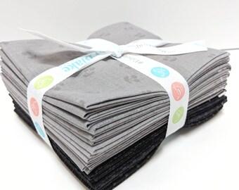Tone on Tone Black & Gray FQ Bundle (FQ-TTG-11) by Riley Blake Designs