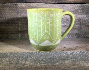 Carved Ceramic Mug/Teacup / Hand-painted / Spring Green- READY TO SHIP