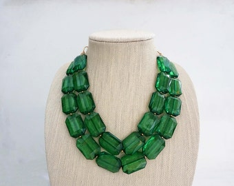 Emerald Green Faceted Gem Statement Necklace