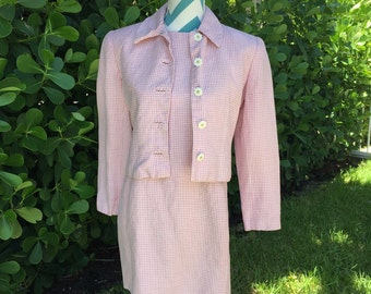 Vintage Pink Gingham Plaid Sun Dress Jacket Set Daisy Daisies Ann Taylor Womens Suit 1960s Style Mod Jackie 0 Small Size 4