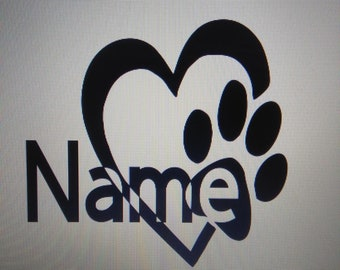 Dog Paw Heart with Name
