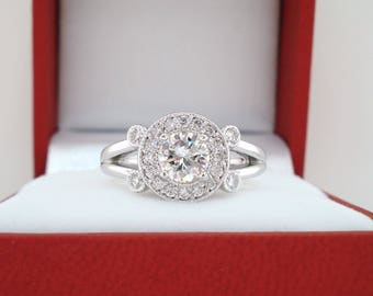 Diamond Engagement Ring Platinum, Halo Engagement Ring, 0.95 Carat Bridal Ring, Unique Handmade Certified
