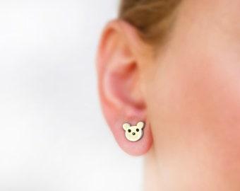 Teddy bear earrings, bear jewelry, animal jewelry, native american, kawaii, cute animal, woodland animal, hypoallergenic, titanium earrings