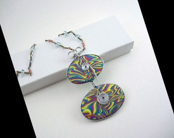 One-of-a-Kind Swirls of Color Statement Necklace