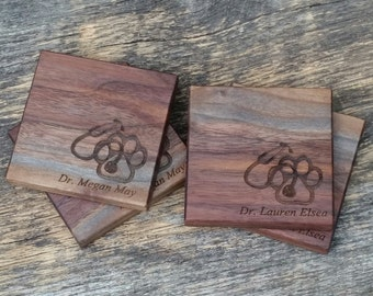 Veterinarian Gift, Personalized Wooden Coasters, Gift For DVM