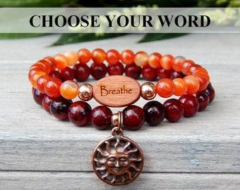 Breathe Bracelet, Yoga Bracelet, Yoga Jewelry, Sun Charm Bracelet, Orange Red Bracelet, Boho Bracelet, Bohemian Bracelet, Message Bracelet