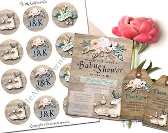 Boho Deer Baby Shower Customizable Combo Party Decor PDF Invite BoHo Chic PDF Print, Cut and assemble!