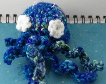 Crocheted Blues and Greens Cthulhu Plush with White Eyes