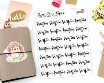 Vacation Planner Stickers - Word Art Planner Stickers - Lettering Planner Stickers - Work Planner Stickers - Fits Most Planners - 266