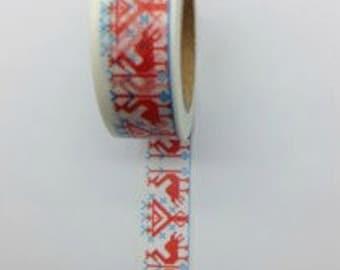 Flamingo Birds Pink Blue Washi Tape (Japanese Tape, Decorative Adhesive, Decorative Tape)