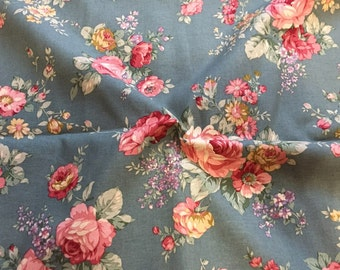 """Cotton Fabric Roses - Blue - 44"""" Wide - By the Yard 44698"""