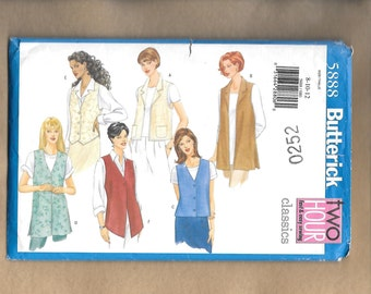 Butterick 5888 Misses' Classic Vests In 6 Different Styles, Sizes 8, 10, 12