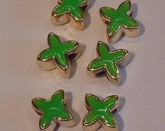 6 green stars beads