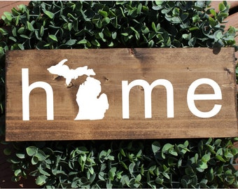 Michigan home sign, michigan sign, state sign, home state sign, michigan decor