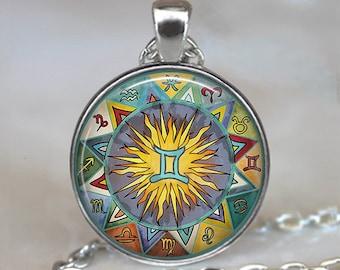 Bohemian Gemini necklace, Boho Gemini pendant Gemini jewelry Zodiac jewelry necklace Gemini birthday gift astrology key chain key ring fob