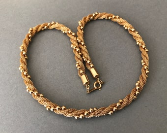 1980's Avon Twisted Mesh and Bead Chain Decorative Short Necklace