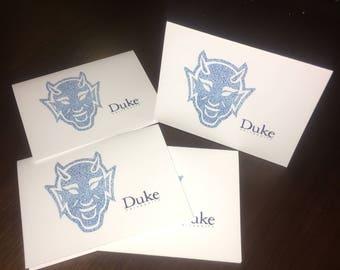 Four Duke Blue Devils Greeting Cards taken from original dot art & Envelopes