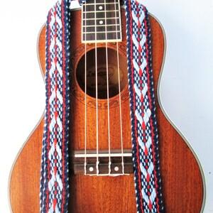 Handwoven Ukulele Strap, Southwestern Colors, Fancy Weave, Free Leather Headstock Strap Holder