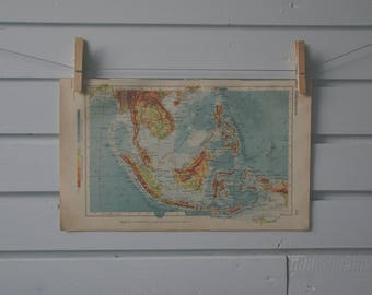 1928 Vintage Southeast Asia Map