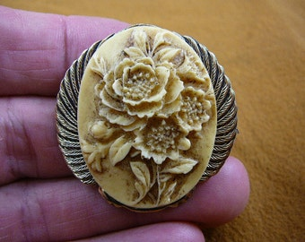 FLOWER BOUQUET peonies flowers CAMEO pin pendant brass brooch cm92-6