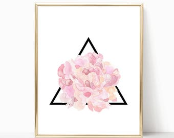 Pink Floral Geometric Triangle 8x10 Printable Art, Instant Download, Geometric Print, Geometric Decor, Modern Home Art Print, Floral Art