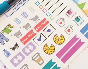 Sampler Set Planner Stickers- Home, Chores, Appointment Reminder Stickers- perfect in your Erin Condren planner, wall calendar or scrapbook