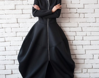 Black Neoprene Dress/Extravagant Long Coat/Asymmetric Maxi Dress/Victorian Style Dress/Long Sleeve Black Dress/Long Zipper Tunic/Maxi Coat